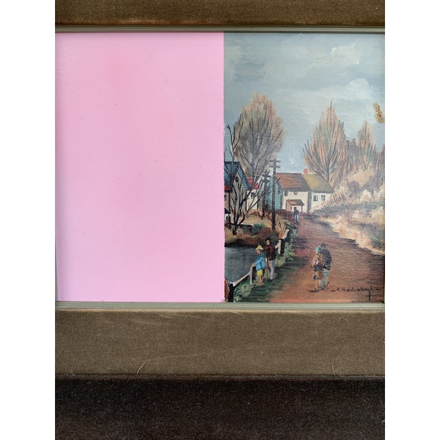 Mid 20th Century Vintage Mid-Century Original Color Block Oil Painting For Sale - Image 5 of 7