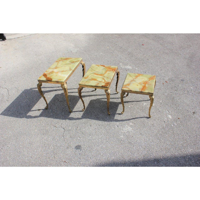Art Deco 1940s French Maison Jansen Bronze Onyx Top Nesting Tables - Set of 3 For Sale - Image 3 of 13