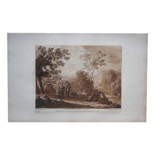 Antique Folio Sepia Engraving of Tuscany