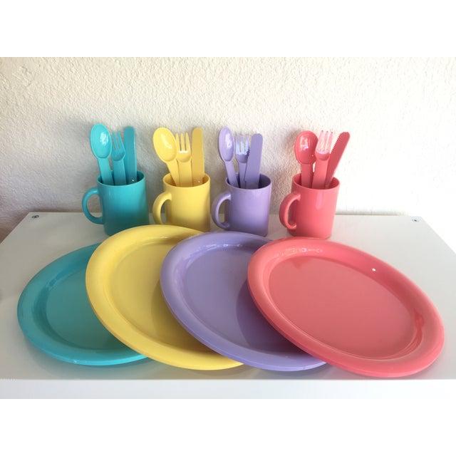 Plastic 1980s Vintage Modern Pastel Melamine Dinnnerware - 20 Pieces For Sale - Image 7 of 7