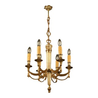 C1930's French 2nd Empire Style Gilt Bronze Drapery Swag Chandelier Maison Bagues For Sale