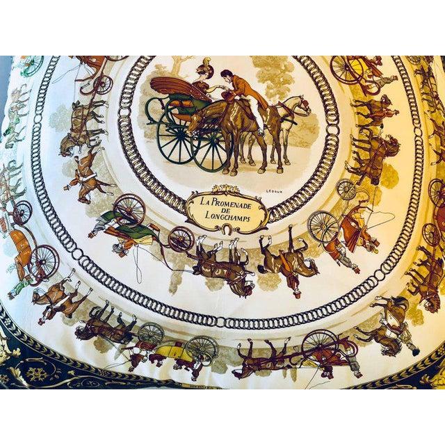 Hollywood Regency Enormous Hermes 'La Promenade De Longchamps' Overstuffed Silk Pillow For Sale - Image 3 of 11