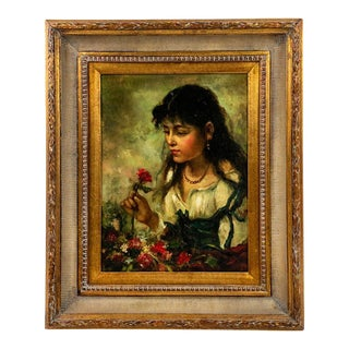 Early 20th Century Portrait of a Young Spanish Woman Oil Painting, Framed For Sale