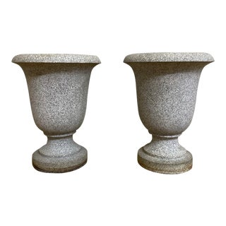 Art Deco Solid Granite Carved Urns - a Pair For Sale