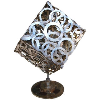Abstract Rotating Gear Cube Sculpture For Sale