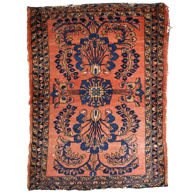 Textile 1920s, Handmade Antique Persian Lilihan Rug 4.9' X 6.7' For Sale - Image 7 of 7