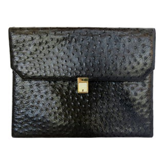 Black Ostrich Document Folio For Sale