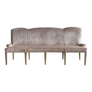 Blush Velvet Dining Banquette Hall Bench For Sale