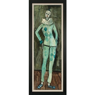 """Circa 1950 """"Arlequin Debout"""" Figurative Oil Painting by Charles Levier, Framed For Sale"""