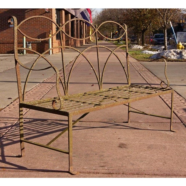 Early 20th Century Neoclassical Wrought Iron Garden Bench For Sale In Rochester - Image 6 of 10
