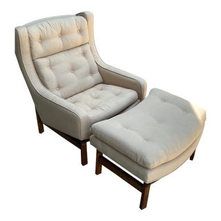 Mid-Century StyleUpholstered Chair & Ottoman For Sale