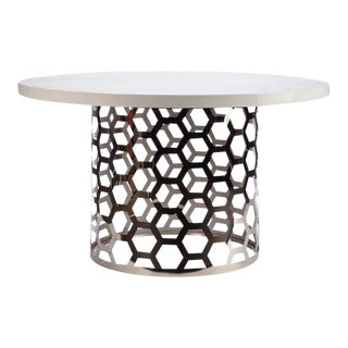 Modern White Top Silver Laguna Dining Table For Sale