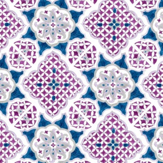 Ferran Ming Medallion Fabric, 2 Yards, Sapphire in Linen/Cotton For Sale