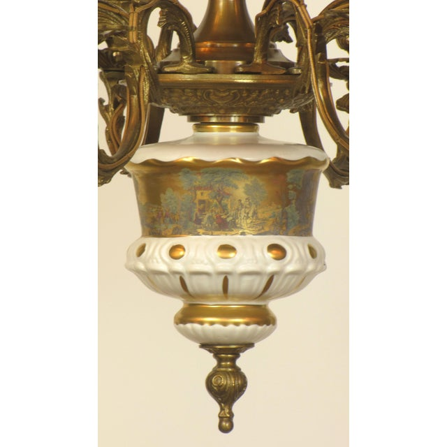 French Limoges Bronze Eight Arm Chandelier - Image 5 of 5