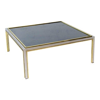 Brass Chrome Smoked Glass Willy Rizzo Square Coffee Table