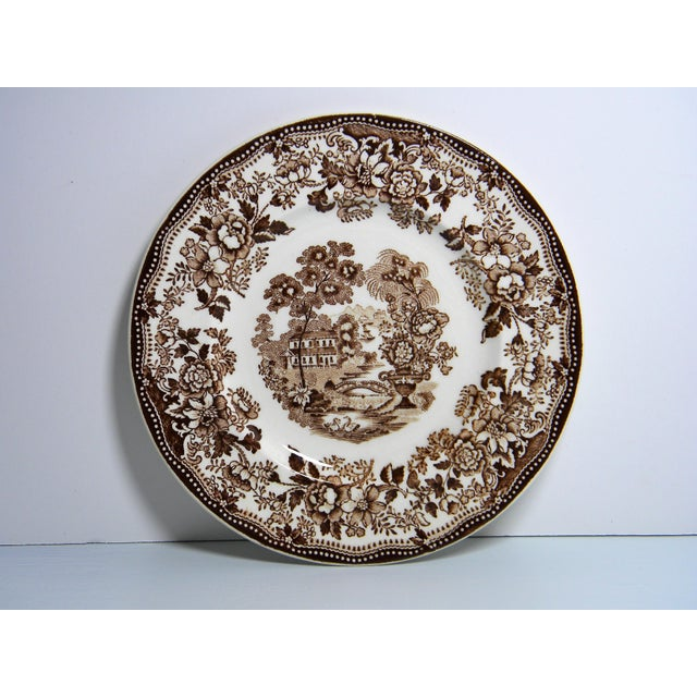 This is a set of 11 vintage, Royal Staffordshire transfer-ware plates. The pieces feature a brown floral design: the...