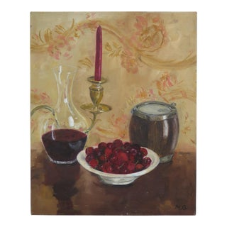 Still Life With Cherries Oil on Canvas