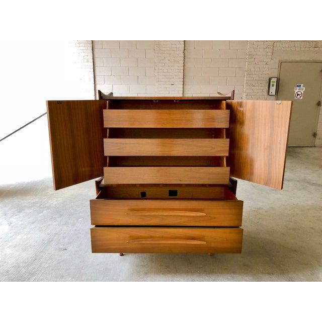 Mid Century Modern Retro Atomic Walnut High Boy Dresser Wardrobe Chest of Drawers Bedroom Set Storage Piece - Image 2 of 11