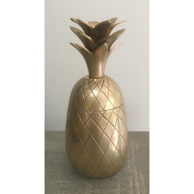1970s Brass Pineapple Trinket Box For Sale - Image 5 of 6