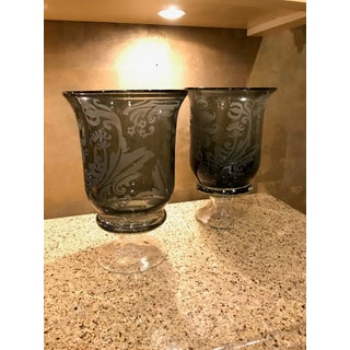 Hand Blown Black on Glass Hurricane Candle Holders - a Pair Preview
