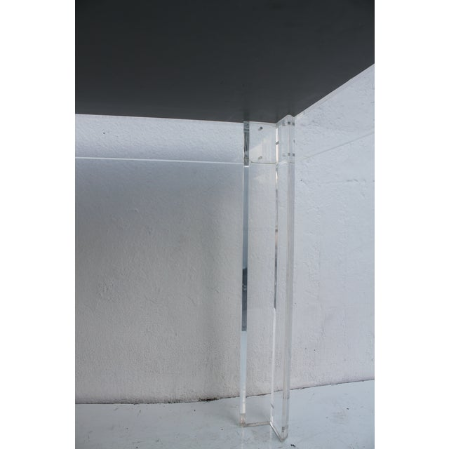 Transparent VJJ 1978 Signed Lucite Dining Table For Sale - Image 8 of 11