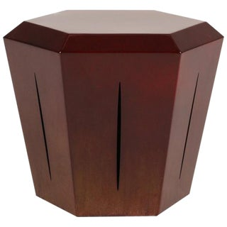 Contemporary Hedra 14S Steel Accent Table in Deep Red Patina by Topher Gent For Sale