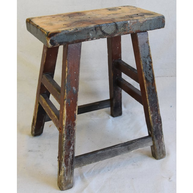 Early 20th Century Rustic Primitive Country Wood Farmhouse Stool For Sale - Image 5 of 8