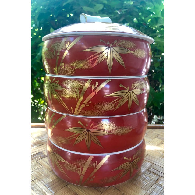 Chinese Gilt Porcelain Bamboo Jubako Wedding Jewelry Stacking Box For Sale - Image 9 of 10