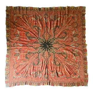 19th CenturyHandmade Persian Paisley Shawl Textile For Sale