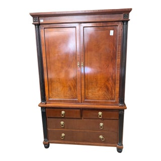 1990s Baker Furniture Company Media Armoire For Sale