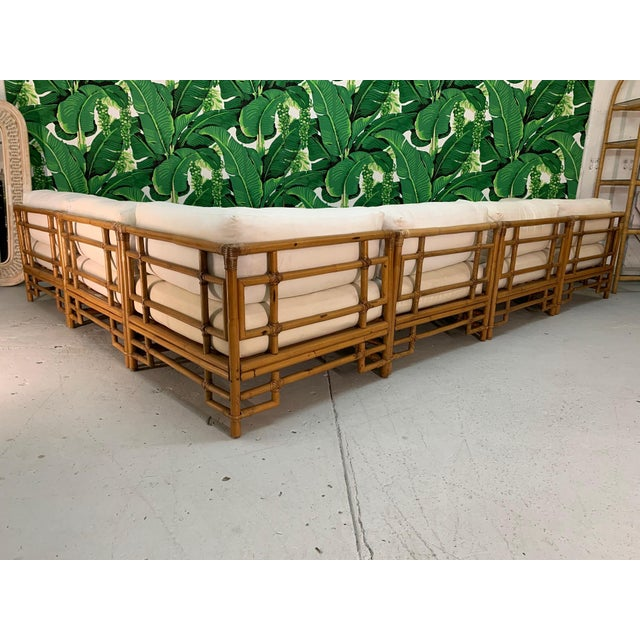 Asian Ficks Reed Rattan Chinoiserie Sectional Sofa For Sale - Image 3 of 12