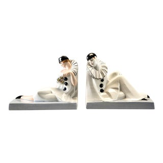 Pair French Porcelain Art Deco Pierrot and Columbine Book Ends For Sale