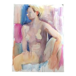 Original Female Nude Vintage Watercolor Study Lg For Sale
