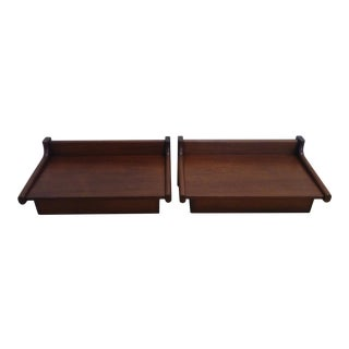 Danish Modern Wall Mounted Teak Bedside Tables - A Pair