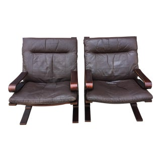 Kengu Leather and Bentwood Mahogany Pirate Chairs - a Pair