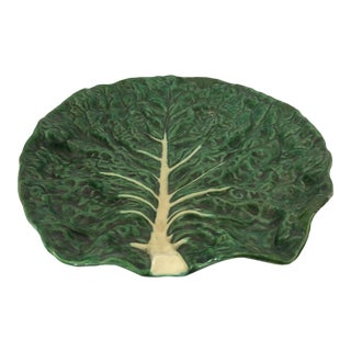 Vintage Portugese Green Leaf Platter For Sale