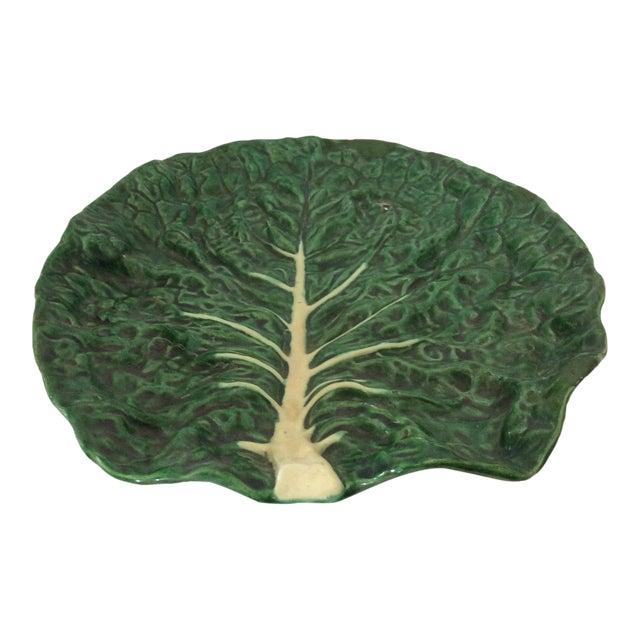 Vintage Portugese Green Leaf Platter For Sale