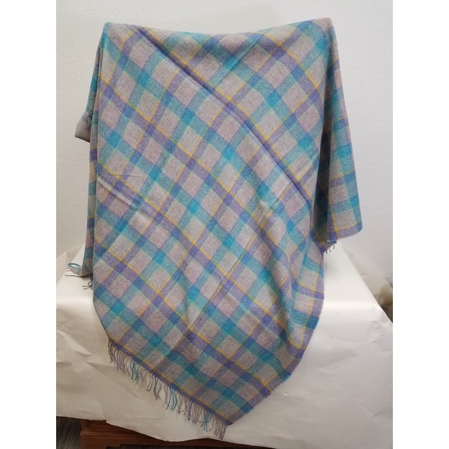 Wool Throw Blue and Purple Stripes on a Gray Background - Made in England For Sale - Image 4 of 11