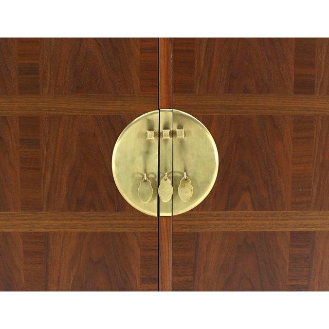 Brown Baker Mid-Century Modern Long Walnut Dresser Brass Hardware Pulls For Sale - Image 8 of 8