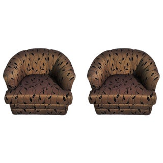 Pair of Milo Baughman Style Swivel Barrel Lounge Chairs For Sale