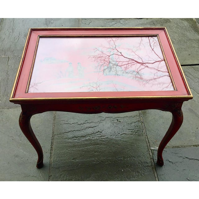 1950s Chinoiserie Red Hand Painted Coffee Table For Sale In New York - Image 6 of 13