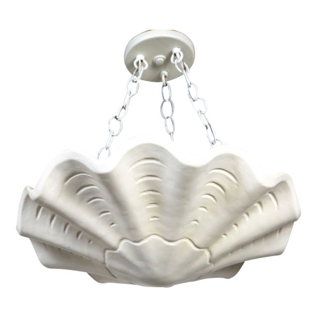 White Vintage Casella Undulating Shell Pendant Light For Sale