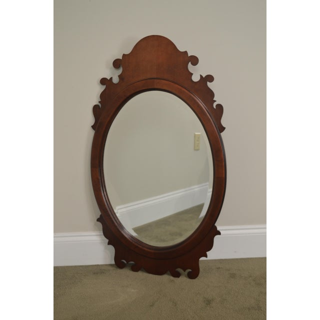 Victorian Style Cherry Oval Beveled Wall Mirror For Sale In Philadelphia - Image 6 of 12