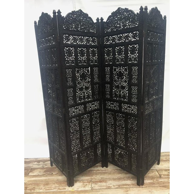 4-Panel East Indian Hand Carved Wood Screen Divider For Sale - Image 13 of 13