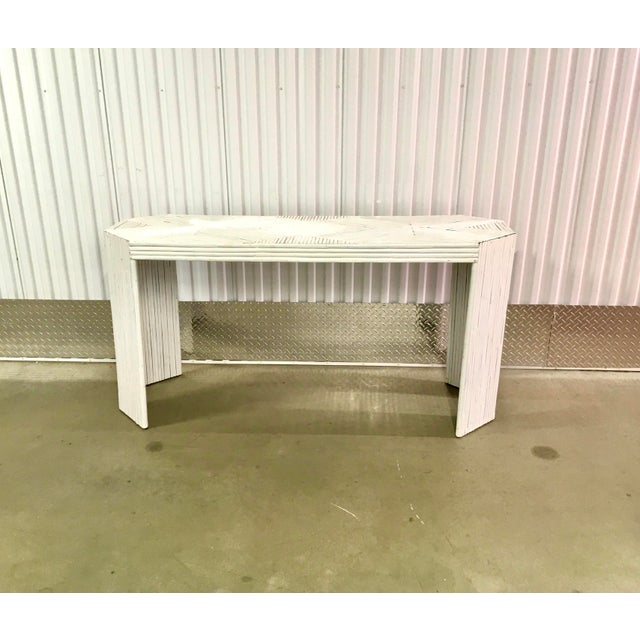 Vintage Gabriella Crespi Style Split Reed Rattan Sofa Console Table For Sale In New York - Image 6 of 11