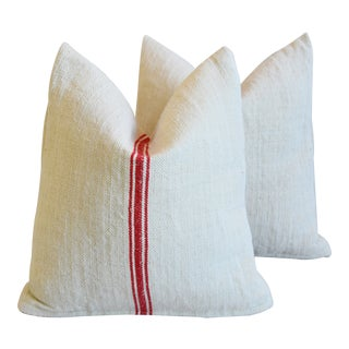 """Red Striped French Farmhouse Grain Sack Feather/Down Pillows 18"""" Square - Pair For Sale"""