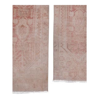 Distressed Small Turkish Oushak Rug - a Pair 19'' X 46'' For Sale