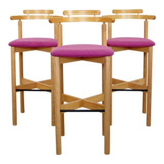 Contemporary Modernist Gangso Mobler Bar Stools Danish Blonde Wood - Set of 3 For Sale