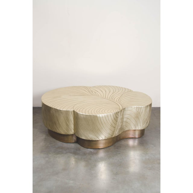 Contemporary Leaf Design Cocktail Table - Brass For Sale - Image 3 of 7
