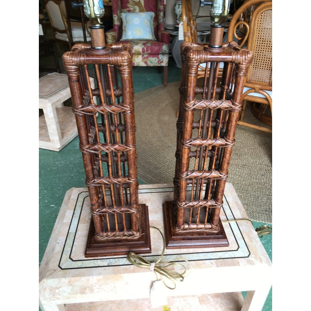 Island Style Coastal Regency Rattan Lamps-A Pair For Sale - Image 4 of 9